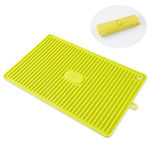 Dish Drying Mat, Teletrogy Large Silicone Draining Board Antibacterial Dish Drainer Heat Resistant Draining Mat for Kitchen Counter Plates bowls Spoons Cups Forks Pots and Fruit (13.8