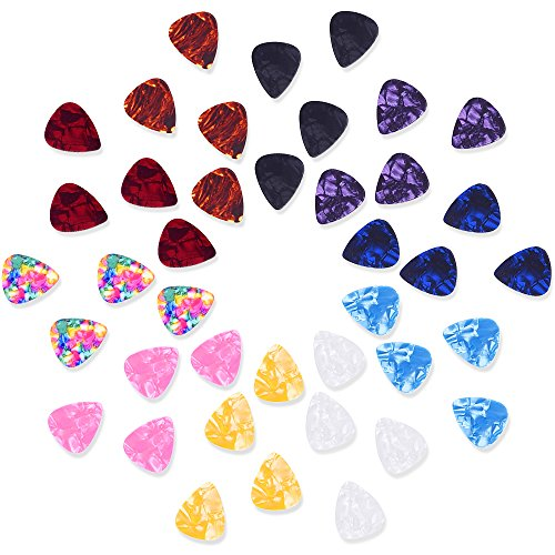 Mudder Mixed Color 0.46mm Celluloid Guitar Picks Plectrums with Metal Pocket Box, 40 Pack