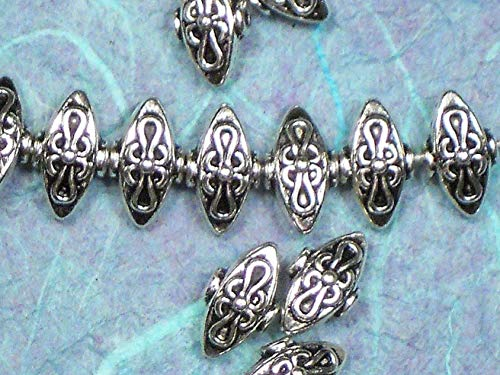 - 10 Pinched Oval Beads Celtic Knot Hill Tribes Style Antiqued Silver Tone Vintage Crafting Pendant Jewelry Making Supplies - DIY for Necklace Bracelet Accessories by CharmingSS