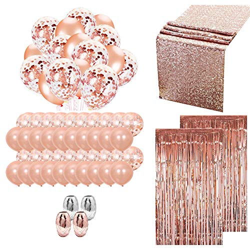 (Flightware Rose Gold Party Supplies Pack   Wedding Decorations and Props for Baby Shower, Happy Birthday, Bridal, Engagement Parties   Includes Ribbons, Curtains, Latex Confetti Balloons, Table Runner)