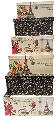 Nesting Material Box - Alef Elegant Decorative Themed Extra Large Nesting Gift Boxes -6 Boxes- Nesting Boxes Beautifully Themed and Decorated - Perfect for Gifts or Simple Decoration Around the House! (Paris)