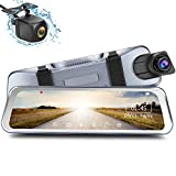 GuanChi Aluminum Mirror Dash Cam with 10' Streaming Media 1296P FHD Touch Screen, 1080P AHD Waterproof Backup Camera with G-Sensor, LDWS, WDR