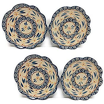Temp-tations Set of 4 Hand Painted Stoneware Salad/Dessert Plate (Old World Blue)