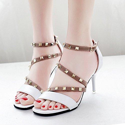 Moda Mujer verano sandalias confortables tacones altos,38 amarillo White