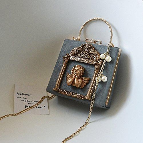Zazero The New Baroque - Bolso de Mano con Diseño de ángel con Perlas en Relieve, Bolso de Hombro Pequeño, Blanco Gray relief