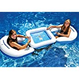 Pool Central 3-Piece Water Sport Floating Game Deck and Chairs with Waterproof Playing Cards