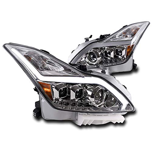 (ZMAUTOPARTS 2008-2015 Infiniti G37 / Q60 2DR Sequential Signal LED DRL Chrome Projector Headlights Lamps)