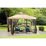 Sturdy Outdoor Polyester Canopy Steel Frame 10' x 10' Gazebo, Beige Color, Ground Stakes, Perfect for Your Garden or Backyard, Patio Durable Furniture, BONUS E-book
