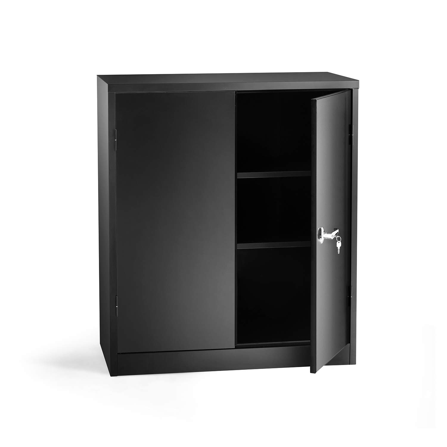 Superday Steel SnapIt Counter Cabinet 3 Shelf Metal Storage Cabinet with 2 Adjustable Shelves Black