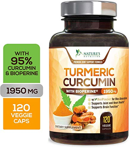 Turmeric Curcumin Max Potency 95% Curcuminoids 1950mg with Bioperine Black Pepper for Best Absorption, Best Vegan Joint Pain Relief, Made in USA, Turmeric Pills by Natures Nutrition - 120 Capsules