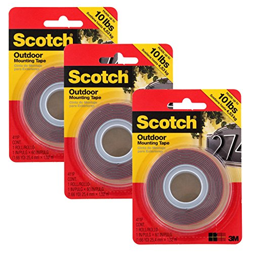 Scotch Outdoor Mounting Double Sided Tape, 15 Pounds Capacity, Pack of 3 (411P) ()