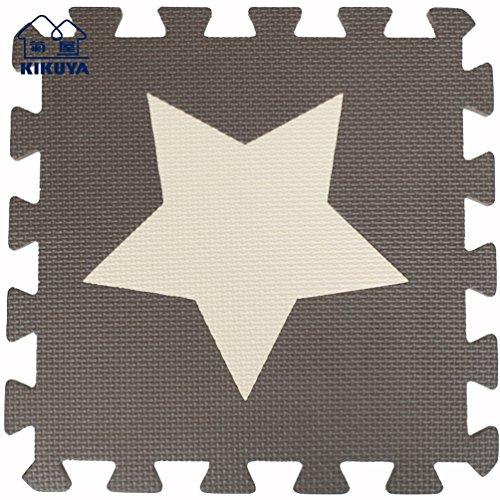 Tianmei 30x30cm Spiel-Matten für Kinder Weiche Puzzle Mats EVA-Schaum-Matten Bodenbelag Matten, 24 Optionen (9tlg, Beige und Kaffee-Sterne)