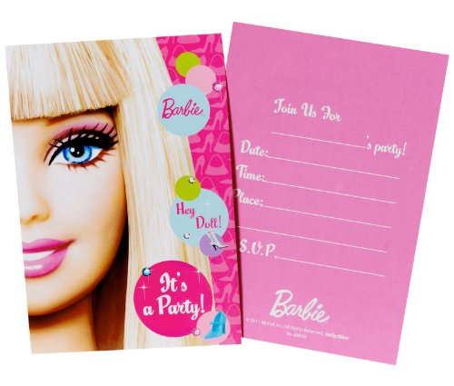 amscan Barbie All Doll'd Up Folded Invitations, 8-Count