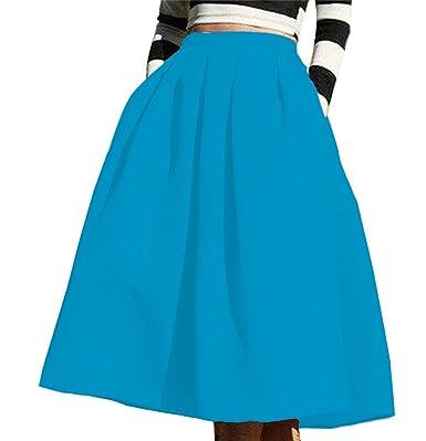 8d841e550c4d Omela Damen Knielang Satin Rock mit Taschen Faltenrock 14 Farben (Blau, XS)