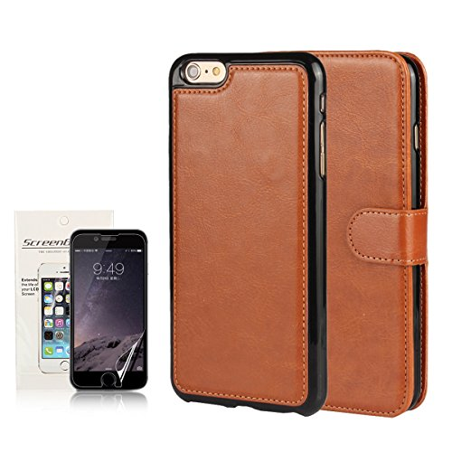 iPhone 6 / 6s Case iCoverCase Crazy Horse Pattern [ 2 in 1 ] Premium Leather Wallet Flip Kickstand Case with Removable Soft TPU Silicone Cover with Free Screen Protector (Light brown)