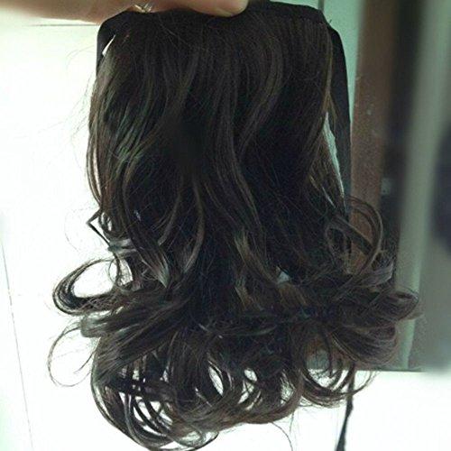 Spritech(TM) New Stylish Black Brown Fluffy Realistic Hair Piece Pony Tail Curled Wavy Wig Hair Piece