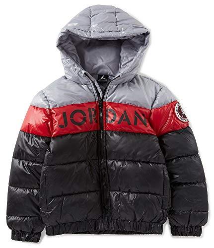 NIKE Air Jordan Colorblock Stripe Big Boys' Puffer Jacket (Medium, Black/Red/Grey) (Nike Boy Coat)