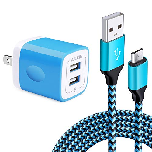 Miro USB Wall Charger Box, USB Brick S7/S6 Edge Fast Charger, Charger Adapter Plug for Samsung Galaxy J7/J8/J6 Cord with Charger Cube Dual Port & 6.6 Ft Micro USB Cable Android Phone, HTC, LG Stylo