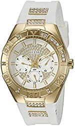 GUESS Women's U0753L3 Mutli-Function Watch with Comfortable White Silicone Strap