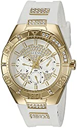 GUESS Women's U0653L3 Sporty Gold-Tone Stainless Steel Watch with Multi-function Dial and White Strap Buckle