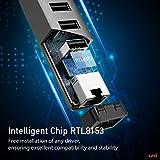 USB to Ethernet Adapter, uni 3 Ports USB 3.0