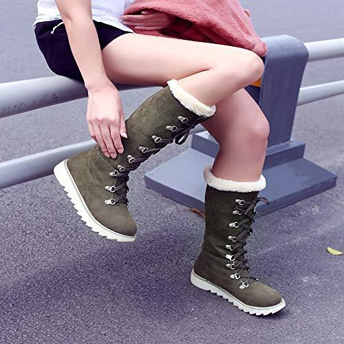 Qiusa Redonda Mujer Nieve Color La Antideslizantes Martin Mate Zapatos Botas Planas De Rodilla Invierno Punta Liso Cordones Para Plataforma Con BZwBYqr