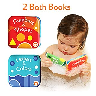 """Baby Bath Books, Pack of 2 by Baby Bibi. Alphabet & Numbers Books. Safe, Waterproof and BPA-free. 3.5"""" x 3.5"""""""