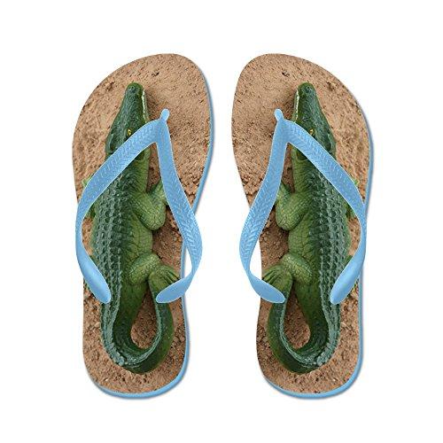 Cafepress Alligator Speelgoed Vuil - Flip Flops, Grappige String Sandalen, Strand Sandalen Caribbean Blue