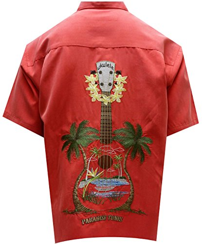 Bamboo Cay Men's Ukulele Island, Embroidered Tropical Style Button Shirt (2XL, Tomato)