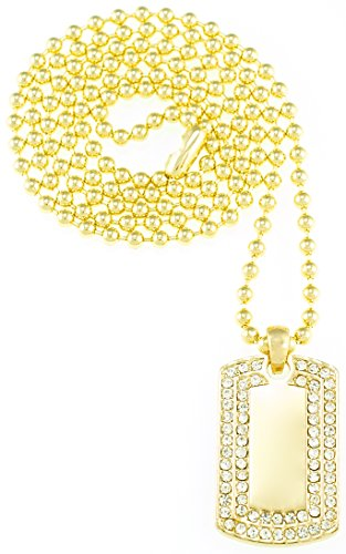 Dog Tag Necklace Iced Out New Mini Size Gold Color 27 Inch Ball Style Chain - Style Lil Wayne