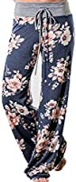 Angashion Damen Blumenmuster Weite Bein Lange Hose, Blau, EU M(36)