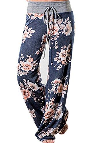 Angashion Women's High Waist Casual Floral Print Drawstring Wide Leg Pants,Blue0486,US 4/Tag M