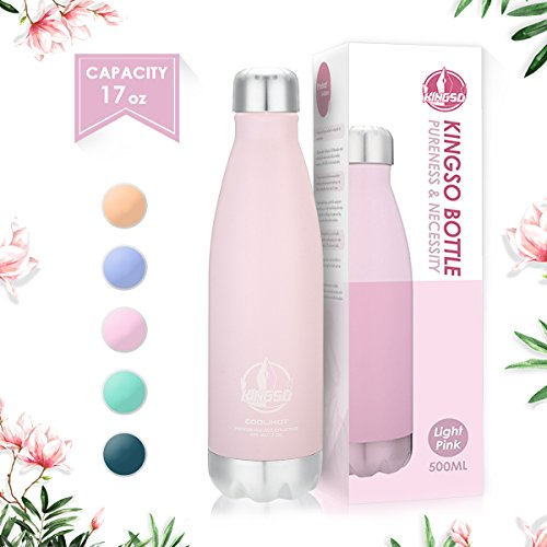 KINGSO Macaron-Color Stainless Steel Water Bottle, Double Wall Vacuum Insulated thermos, Sports Vacuum Flask, Keep Cold 24 Hours / Hot 12 Hours (Macaron Pink (500ml))