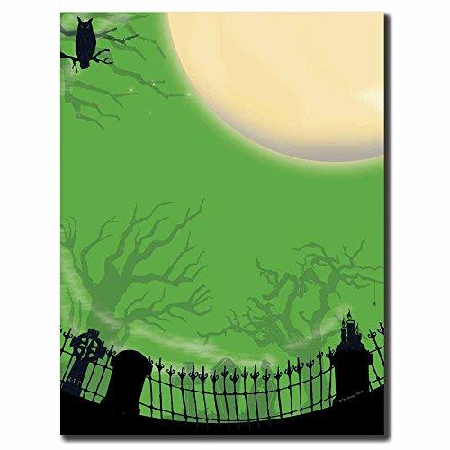 Image Shop Spooky Graveyard Halloween Letterhead Laser & Inkjet Printer Paper (100pk),Green, Black by Image Shop