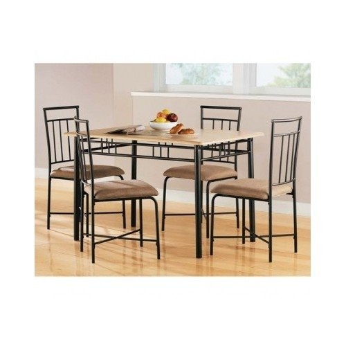 Mainstays 5 Piece Wood and Metal Dining Set, Natural