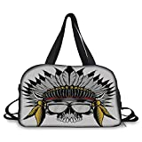 Trunk,Skull,Dead Ancient Native American Tribe Leader Feather Head Crown with Glasses,Grey Yellow and Red,Picture Print
