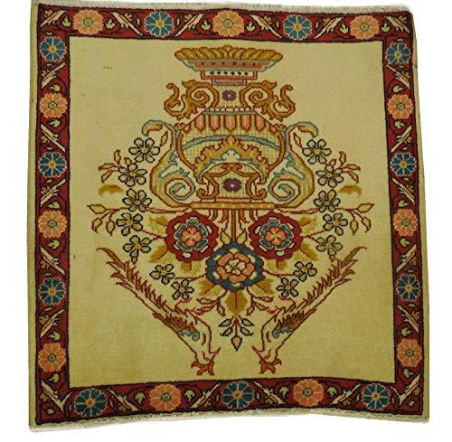 Persian Wool Vase - Qashqai Persian Rug 2x2 Ivory Floral Vase Decorative wall Hanging Handmade Rug