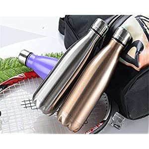 OJESS Water Bottle Double-walled Stainless Steel Sports Bottle Camping Travel Mug Healthy Drinks Hot 500 ml -17OZ BPA Free (Purple)
