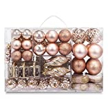 AMS 72ct Christmas Ball Assorted Pendant Shatterproof Ball Ornament Set Seasonal Decorations with Reusable Hand-Help Gift Boxes Ideal for Xmas, Holiday and Party (72ct, Champagne)