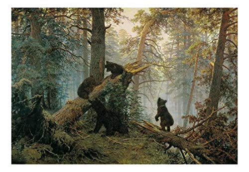 wall26 - Morning in a Pine Forest (Bears Playing on a Fallen Tree) by Ivan Shishkin - Russian Realist Painter - Landscape Artist - Peel and Stick Large Wall Mural, Removable Wallpaper - 66x96 inches