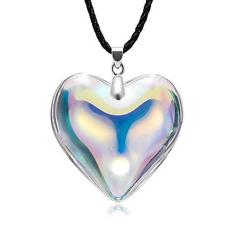 d6944d512f72 Topdo Boutique Damas Collar con Collar Delicado con Dije Corazón en ...