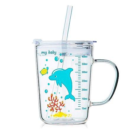 Volwco Vasos Beber con Tapa y Pajita para niños, Tapas Regulares a Prueba de Fugas, Transparente con Escala Resistente al Calor, Taza de Leche para ...