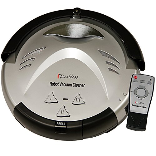 iTouchless Updated Robotic Vacuum Strong Suction, Pet Fur Cleaner-Long Lasting Battery-3 Modes-Cleans Carpets, Hardwood, Tile, Linoleum Floors-Avoids Stairs and Furniture, Silver (Tread Common)
