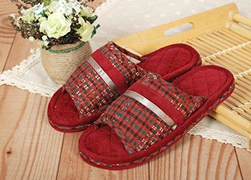 Coppie fankou home scarpe moquette del pavimento cotone pantofole ,39-40, formato rosso