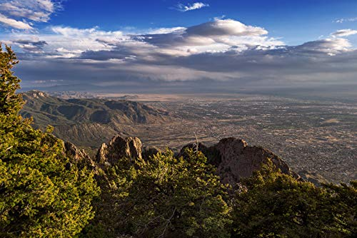 Albuquerque, New Mexico from the Sandia Mountains Crest Photography A-90692 (16x24 Giclee Gallery Print, Wall Decor Travel Poster)