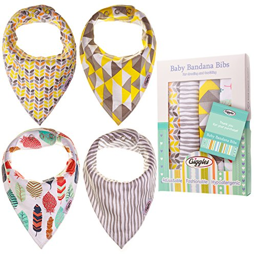 Giggles Baby Bandana Drool Bibs - Drooling and Teething, 3 Adjustable Snaps,100% Organic Cotton, Absorbent and Soft, Hypoallergenic,4 pack unisex, Gift set for boys and girls