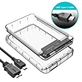 ineo USB 3.1 Gen 1 Type-C Tool-Free Transparent External Hard Drive Enclosure For 2.5 inch HDD SSD with Free TPU Bumper For Shockproof & Scratch-Prevented UASP Supported [T2581c]