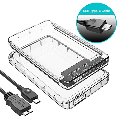 ineo USB 3.1 Gen 1 Type-C Tool-Free Transparent External Hard Drive Enclosure For 2.5 inch HDD SSD with Free TPU Bumper For Shockproof & Scratch-Prevented UASP Supported [T2581c] by ineo