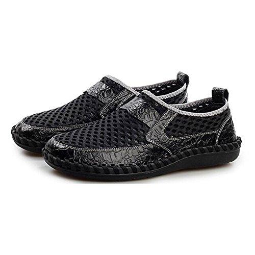 Mocasines Verano Malla de Zapatos Hombres Al Transpirable Caminar Malla para Casuales hibote de de Malla de de Ligeros Zapatos Senderismo Deportivos Negro XpqIP4x