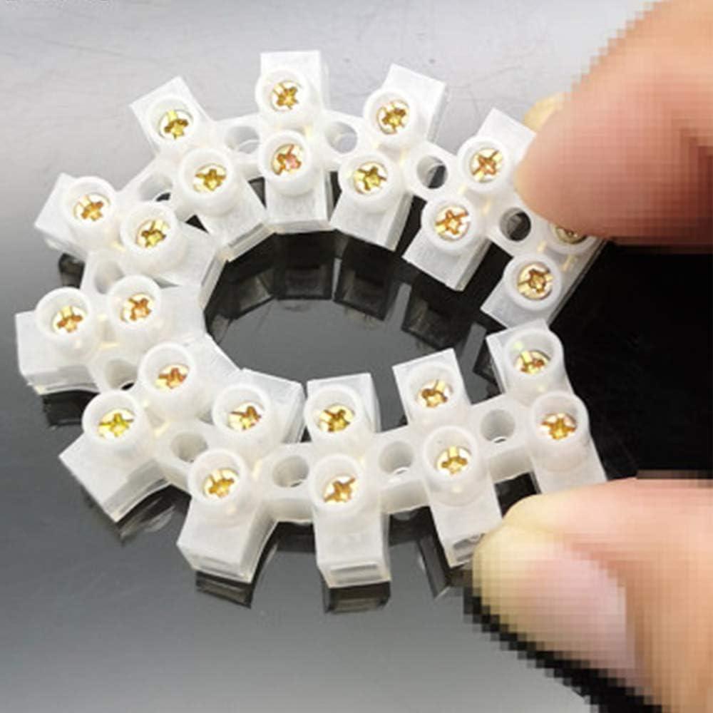Jixista Barrette de Connexion Blocs de Jonction /électriques Double Rang/ée de Connecteurs de Connecteur de Position 10PCS pour Fils de Raccordement Appareils /Électriques Armoires /Électriques Blanc